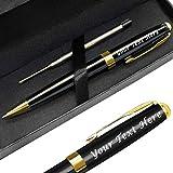 Bolígrafo retráctil con grabado personalizado para hombre, tinta negra, color dorado y negro