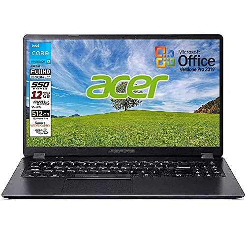 Notebook SSD slim Acer Intel i3 10 th, RAM 12 GB, SSD 512GB m2, display 15.6 Full hd led, Svga Intel HD 600, 3 USB, Wi-Fi, hdmi, BT, Win 10 Pro, Office Pro 2019, Pronto all'Uso, Garanzia Italia