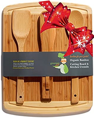 Bamboo Cutting Board Housewarming Gift Set - With Bonus 3-Piece Cooking Utensils - Wooden Spoon, Salad Tongs and Wood Spatula - Mother's Day, Wedding & Kitchen Gadgets Gift Idea from