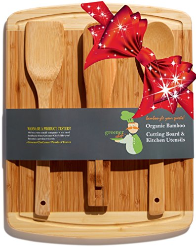 Bamboo Cutting Board Housewarming Gift Set - With Bonus 3-Piece Cooking Utensils - Wooden Spoon, Salad Tongs and Wood Spatula - Mother's Day, Wedding &...