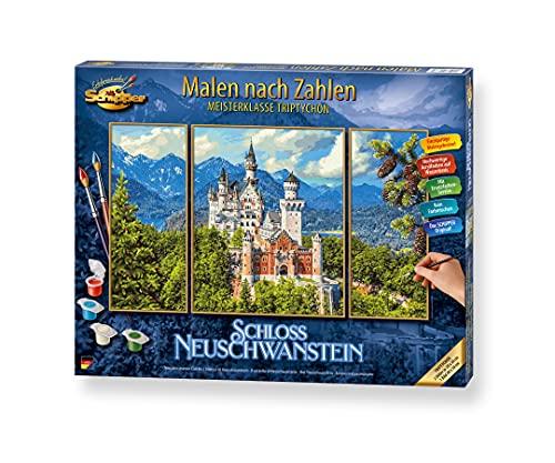Schipper 609260837 Malen nach Zahlen, Schloss Neuschwanstein - Bilder malen für Erwachsene, inklusive Pinsel und Acrylfarben, Triptychon 50 x 80 cm