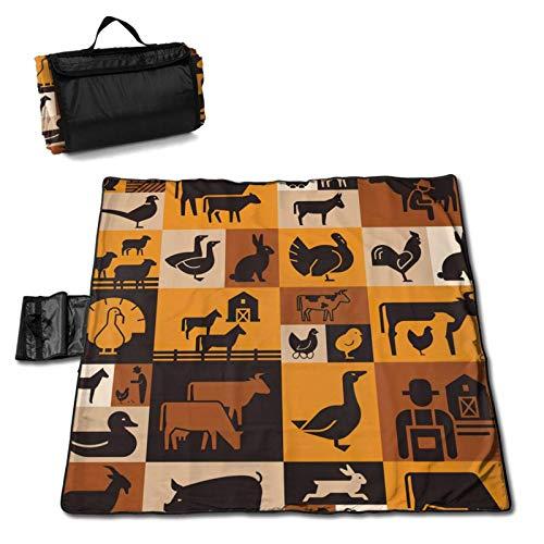 LUCKCHN Manta de picnic con varios animales de granja en la oscuridad, manta de playa, manta grande para picnic al aire libre, plegable, impermeable, práctica bolsa de 144,8 x 149,9 cm
