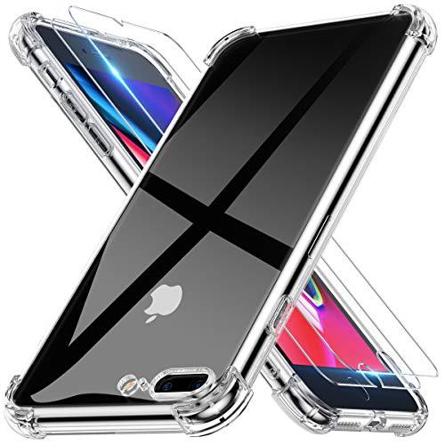 Alexcase Hülle iPhone 8 Plus, Hülle iPhone 7 Plus mit 2 Stück Panzerglas Durchsichtig Soft TPU Silikon mit Stoßfest Fallschutz Bumper Kratzfest Handyhülle Case für iPhone 7Plus 8Plus 5.5
