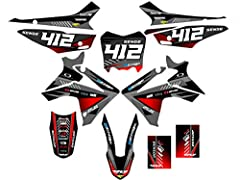 Compatible with Honda 2013-2018 CRF 110. Includes decals for- Left and right radiator shrouds, left and right side of the gas tank, Front fender tip and arches, rear fender, airboxes, swingarms, fork guards, all three number plates, and 3 mini front ...