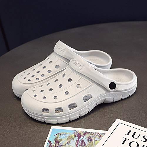 TDYSDYN Ideal para Ducha,Playa,SPA Zapatillas,La Puntera Antideslizante Calza los Zapatos de la Enfermera, el talón Plano Calza Las Mujeres-Gris Claro_36