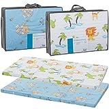 Reisebettmatratze TRAVEL 120x60cm (+Tragetasche) für Baby Reisebett / Kinder Bett (Zirkusbär Blau)