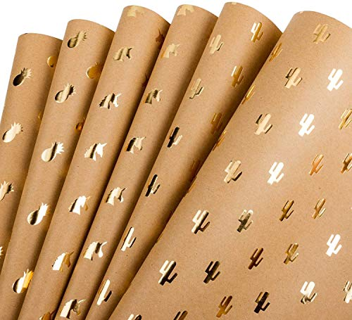 RUSPEPA Kraft Wrapping Paper Gold Foil Unicorn Pineapple Cactus Shiny Kraft Paper for Birthday, Holiday, Wedding Wrap - 6 Sheets Packed as 1 roll - 17.5 x 30 inches per Sheet