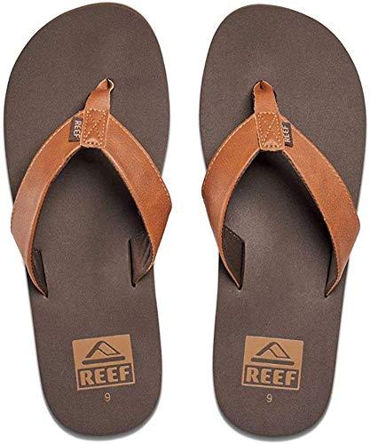 Reef Men's Sandal Twinpin | Comfortable Men's Flip Flop With Vegan Leather Upper, Brown, 10