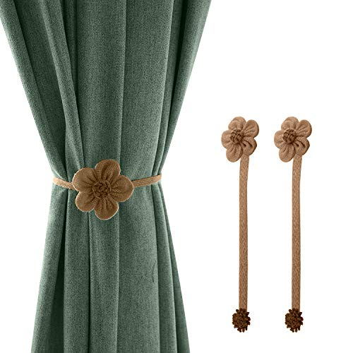 Lewondr Magnetic Window Curtain Rope Holdbacks, 2 Pieces Simple and Elegant Sunflower Decorative Knitted Cord Drapery Holder Curtain Tieback Accessories for Home Office Decor, Small - Coffee