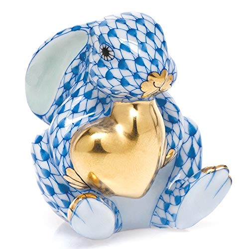 Herend Bunny Rabbit with Heart Porcelain Figurine Blue Fishnet