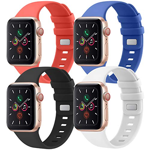 CTZL Correa Compatible con Apple Watch 38mm 40mm 42mm 44mm, Pulsera de Repuesto para iWatch Series SE 6 5 4 3 2 1 (38mm/40mm S/M, Rojo/Azul/Blanco/Negro)