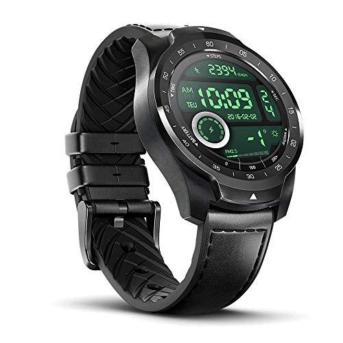 TicWatch Bundle with TicWatch Pro 2020 Smartwatch Dual Display Long Battery Life Wear OS, GPS NFC IP68 Waterproof - Black + TicPods 1 True Wireless Earbuds - Ice