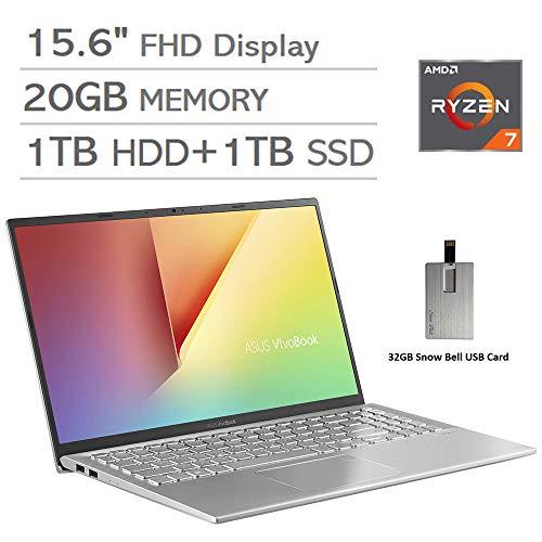 "2020 ASUS VivoBook 15 15.6"" FHD Display Laptop Computer, AMD Ryzen 7-3700U, 20GB RAM, 1TB HDD+1TB SSD, HD Webcam, ASUS SonicMaster, AMD Radeon RX Vega 10, HDMI, Win 10, Silver, 32GB Snow Bell USB Card"
