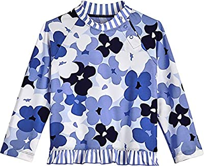 Coolibar UPF 50+ Baby Girls' Guppy Ruffle Swim Shirt - Sun Protective (3T- Blue Blooming Flowers)