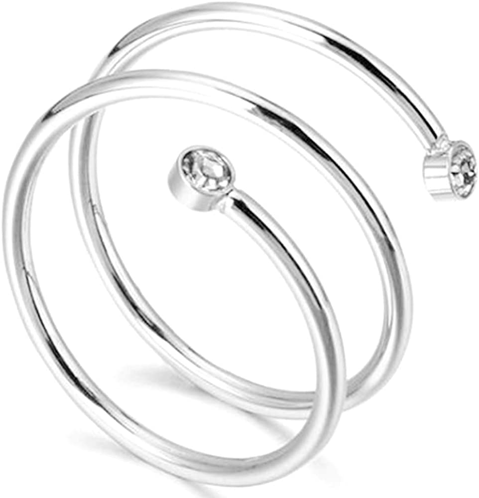 Stainless Steel Braided Wrap Wave Stacking Promise Statement Cocktail Party Ring