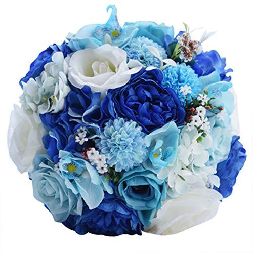 WDOIT Brautstrauß Satin Hochzeit Blumenstrauß Künstliche Rose Fake Blume Hochzeit Holding Blumen für Hochzeit Valentinstag Foto Shooting, blau, 24CM*26CM
