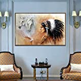 Caballo y mujeres con plumas Imágenes de lienzo Arte de pared para sala de...