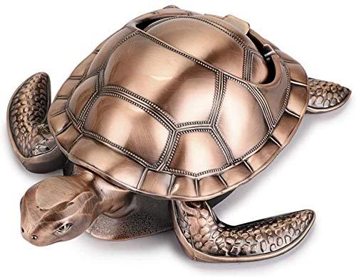 Cenicero de tortuga a prueba de viento, cenicero de metal retro con tapa, desodorante creativo para interiores y exteriores portátil, para la decoración del hogar del jardín de la oficina