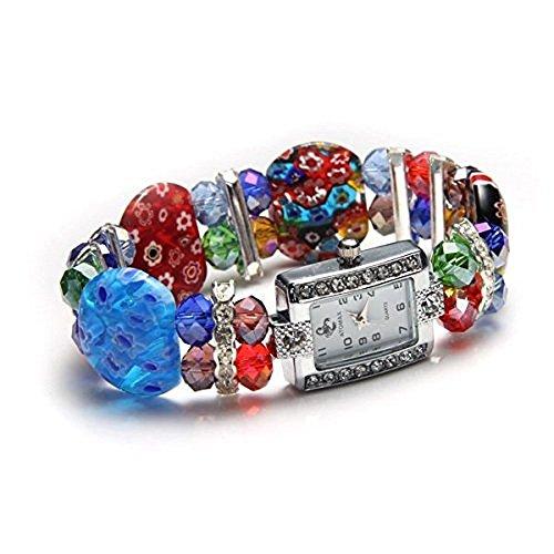 Ecloud Shop® Cristal único de la Manera elástico lampworkmurano Reloj de Pulsera del Brazalete
