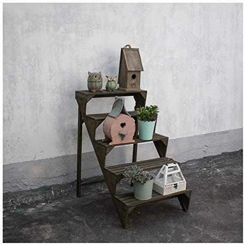 xiuxiu Arbeiten Sie kreatives amerikanisches Retro- hölzerne Leiter-Blumen-Stand-Treppen-Schritt-Blumen-Garten-Balkon-reizendes Blumen-Topf-Regal-Trapez-Blumenbeet-Dekoration um
