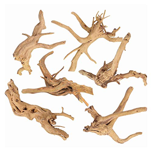 SERJOOC 6Pcs Aquarium Driftwood Spider Wood Ornament for Fish Tank Natural Branches Decorations...