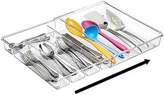 mDesign organiseur de tiroir transparent – bac de rangement de couverts, idéal pour le tiroir de cuisine – système d'organ...