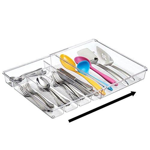 mDesign Cubertero para cajones de cocina extensible – La bandeja para cubiertos perfecta – Ideal para guardar cucharas, cuchillos, tenedores y otros utensilios de cocina – transparente