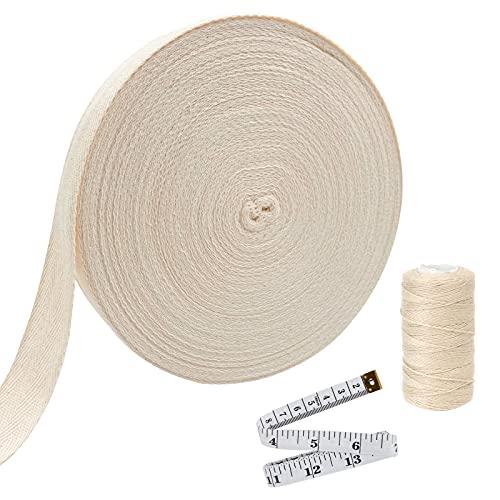 Ancoo 55 Yard 1/2 Inch Cotton Twill Tape Ribbon Soft Natural Twill...