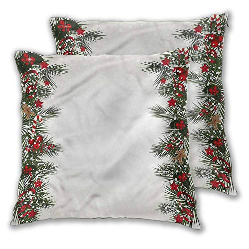 Xlcsomf Christmas Pillow Covers Decorative Square Pillowcase, 20 x 20 Inch New Years Eve Magic for Home Decor Sofa Bedroom Car Christmas decoration Set of 2