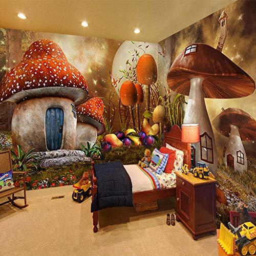 Behang fotobehang 3D-effect sprookjesbos kinderkamer kleuterschool prinses huis muurschildering wandbehang hoofddecoratie voor woonkamer slaapkamer poster 250x175cm