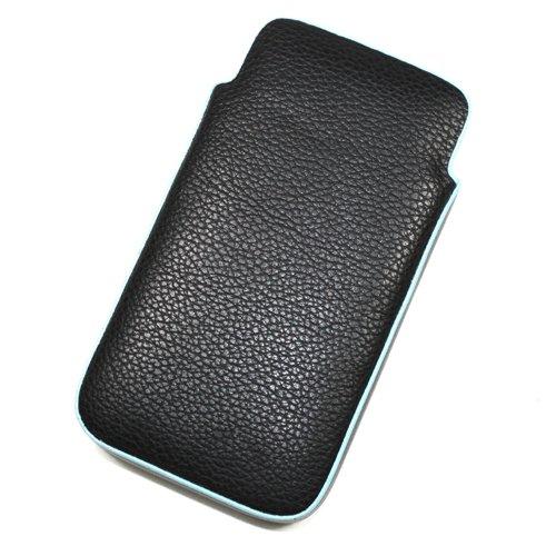 Acce2S Schutzhülle in Schwarz-Blau für APPLE iPhone 4S 16GB, 32GB (kein Mik) 64Go Klappdeckel in Leder-Optik