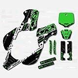 Boston Decal Works White Green Slick Racing Graphics fits a Kawasaki Kx 65 00-19 Graphic Kit Sticker Kx65 MX