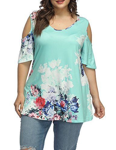Allegrace Women's Plus Size Floral Printing Cold Shoulder Tunic Top Short Sleeve V Neck T Shirts Lake Blue 3X