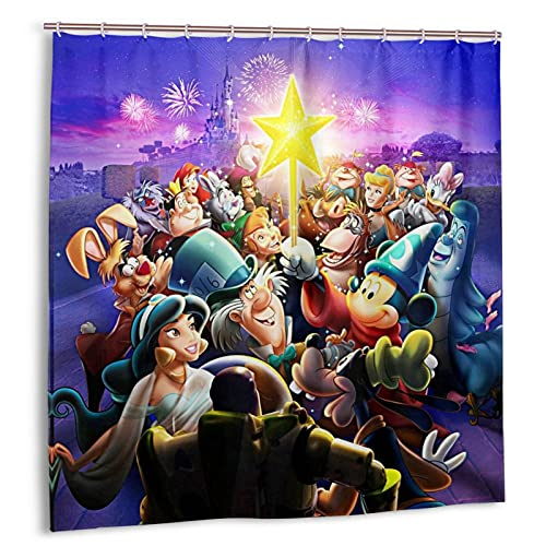 Duschvorhang mit Cartoon-Micky-Maus-Motiv, schneeweiß, Badezimmer-Dekoration, exquisit, wasserdicht, 183 x 183 cm, mit 12 Kunststoff-Haken
