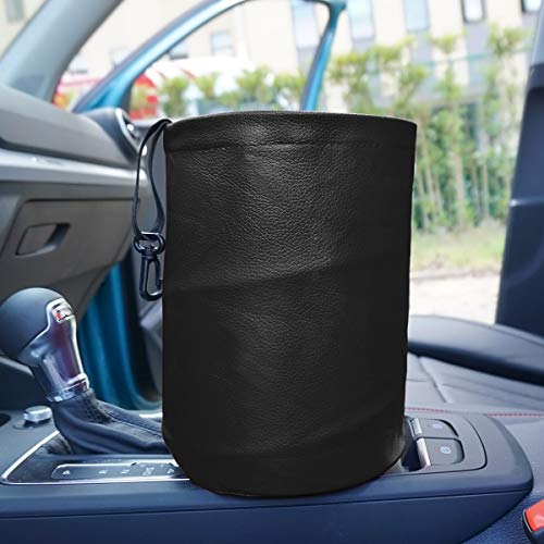 AMO Multifunctional Folding car Trash can,Double Waterproof Leather Car Garbage Can Organizer,Waste Baskets, Rubbish Bin (Black)