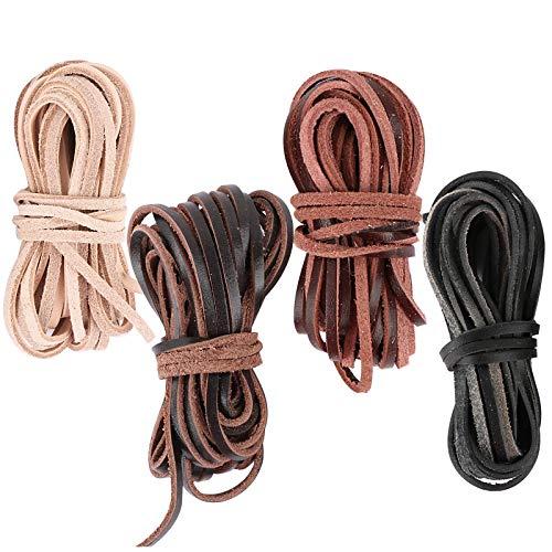 FLOFIA 3mm*20m Cordón de Cuero Plano 4 Colores, Banda Cintas de Cuero Leather Cord Tira Cuero para Colgante Pulsera Collar Manualidades Colores Mixtos