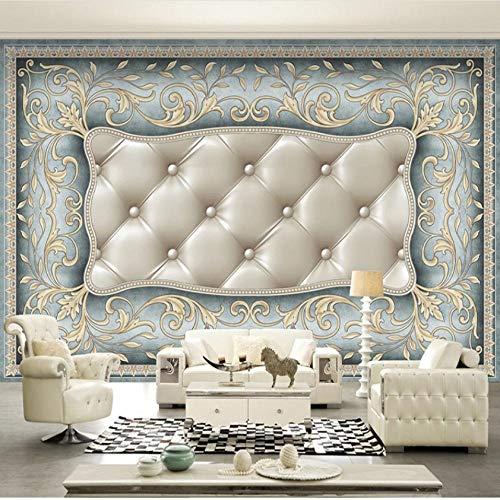 Fotobehang op maat 3D niet-geweven stof Milieuvriendelijk en duurzaam behang muursticker-Scandinavische blauwe luxe zachte hoes 300(w)x210(H)cm