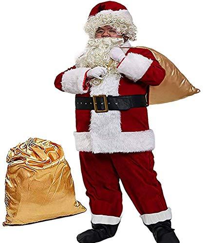 Obosoyo Men's Deluxe Santa Suit 10pc. Christmas Ultra Velvet Adult Santa Claus Costume 2XL