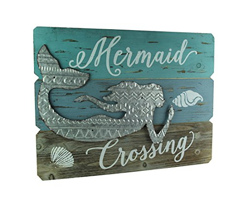 Mayrich Wood & Metal Decorative Wall Plaques Rustic Beach Wood And Metal Mermaid Welcome Or Crossing Sign 23.5 X 17.75 X 1 Inches Blue