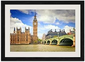 London Bridge and Big Ben - Art Print Wall Black Wood Grain Framed Picture(20x14inch)