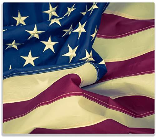 Wallario Herdabdeckplatte/Spritzschutz aus Glas, 1-teilig, 60x52cm, für Ceran- und Induktionsherde, Amerikanische Flagge im Wind