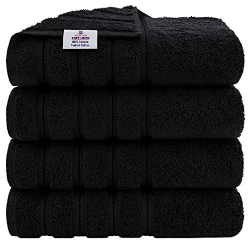 American Soft Linen Luxury Hotel & Spa Quality, Turkish Cotton, 27x54 Inches 4-Piece Bath Towel Set for Maximum Softness & Absorbency, Dry Quickly - Black
