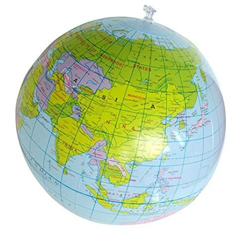 Ogquaton 16 Zoll Aufblasbare Weltkugel Geographie Weltkarte Spielzeugball Wasserball Globus für Kinder Lernen und Spielen Lernspielzeug Langlebig und nützlich