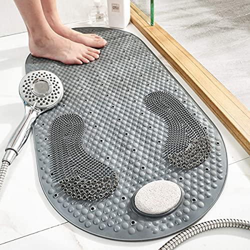 BABYCOW Alfombrillas de Ducha Alfombrilla de baño Alfombrillas de baño Antideslizantes de PVC para bañera Alfombrilla de Masaje para Suelos Alfombrilla para pies con Piedra pómez extraíble Alfombril