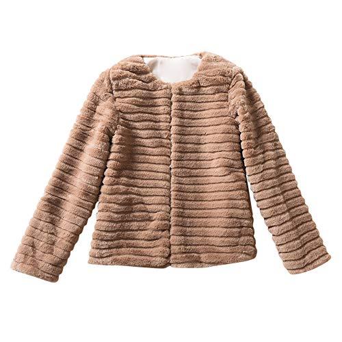 Zarupeng Damesmantel van namaakbont, korte winterjas, warm, effen kleur, slim parka mantel sweatshirt bovenkleding