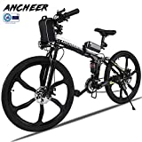 ANCHEER Electric Mountain Bike, 26'' Folding Electric Bike with Magnesium Alloy 6-Spoke Integrated Wheels and...