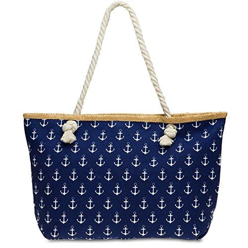 Caspar TS1022 große Canvas Damen Strandtasche Shopper mit Anker Print, Farbe:dunkelblau, Größe:One Size