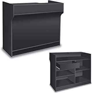 Free-Standing Black Melamine Register Stand, With Adjustable Shelves, Pull-Out Drawer, And Check Writing Area