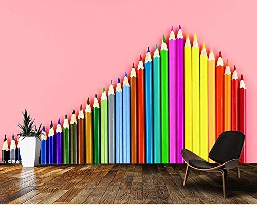 Colored Pencil Art 3D Wallpaper,Living Room TV Wall Children Bedroom Wall Papers Home Decor School Mural 450(L) x300(H) cm