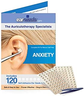 Anxiety Ear Seed Kit- 120 Ear Seeds, Stainless Steel Tweezer by EarSeeds.com